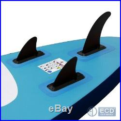 10FT Inflatable stand up paddle surf surfboard SUP paddleboard blue kayac + seat