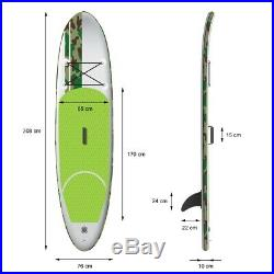 10FT inflatable portable stand up surfing board SUP soft paddle board green