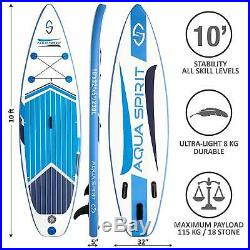 Aqua Spirit 10FT Inflatable SUP Paddle Board Stand Up Paddleboard Beginners/Pros