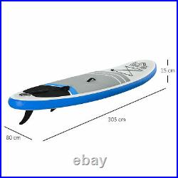 HOMCOM Inflatable Stand Up Paddle Board SUP Accessories for Adults Kids Blue