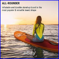 Inflatable Paddle Board SUP Surfing Set 305x10x77 Sports Backpack Kit Orange