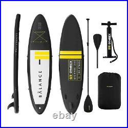 Inflatable SUP Board Stand Up Paddle Board + Paddle 3 Fins 135kg Black/Yellow