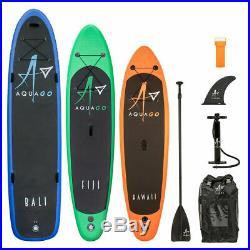 Inflatable Sup Paddle Board Aquago Stand Up Complete Set Pump + Bag 9/10/12 Ft