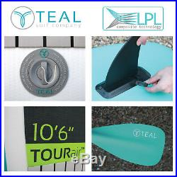 Teal TOURair iSUP Inflatable Stand Up Paddle Board SUP Package & Paddle Pump Bag