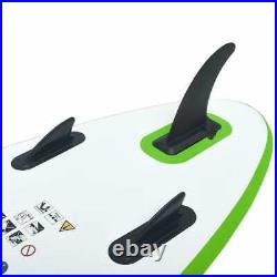VidaXL Inflatable Stand Up Paddleboard Set Green and White Surfing SUP Board